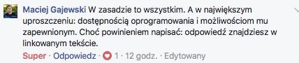 Reakcje w komentarzach na Facebooku