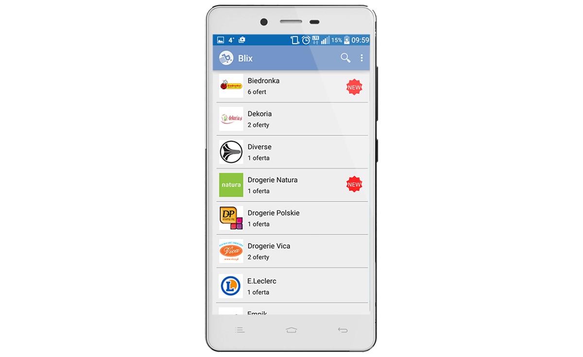 Blix to najpopularniejsza i najlepiej oceniana aplikacja (Android) z gazetkami promocyjnymi w Polsce.