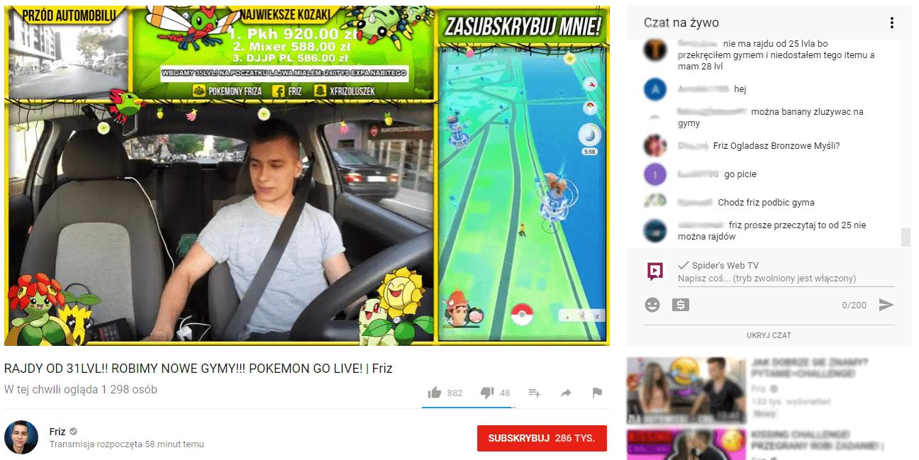 Polski youtuber jeździ autem i gra w Pokemon GO. Wszystko nagrywa zbierając na siebie dowody