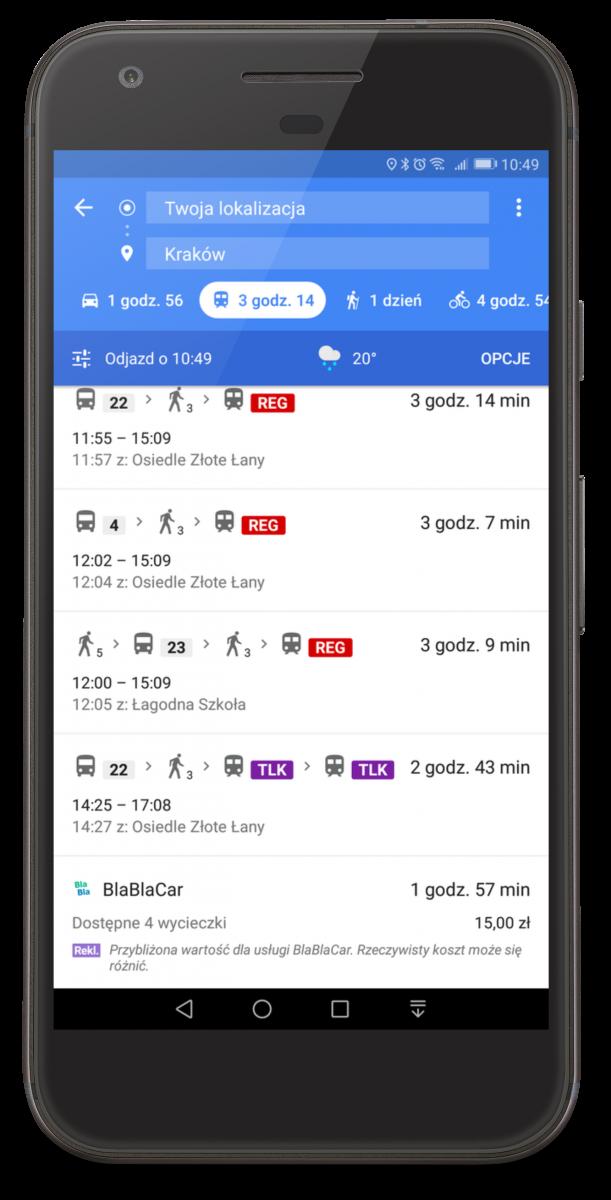 BlaBlaCar dostępny w Mapach Google.