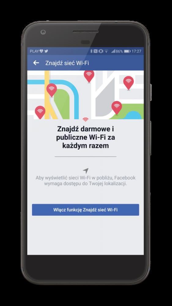 Znajdź sieć WiFi na Facebooku.
