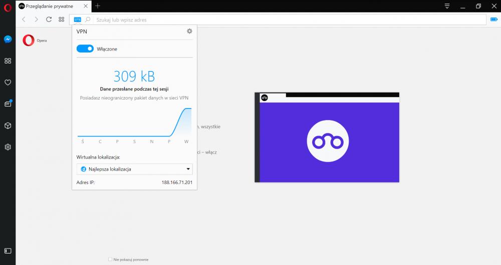 Opera ma wbudowany VPN, który pomaga chronić naszą prywatność.