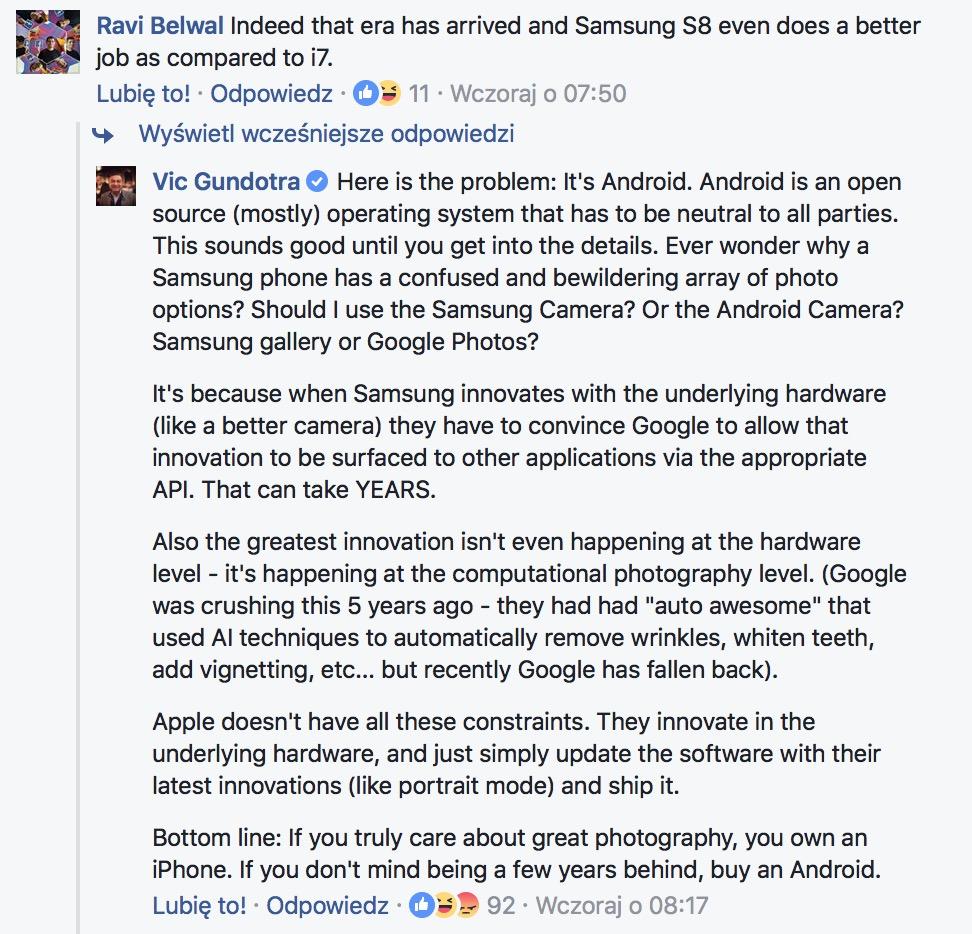 iPhone ma najlepszy aparat, a Android jest kilka lat do tyłu. Ttwierdzi Vic Gundotra, były wiceprezes Google.