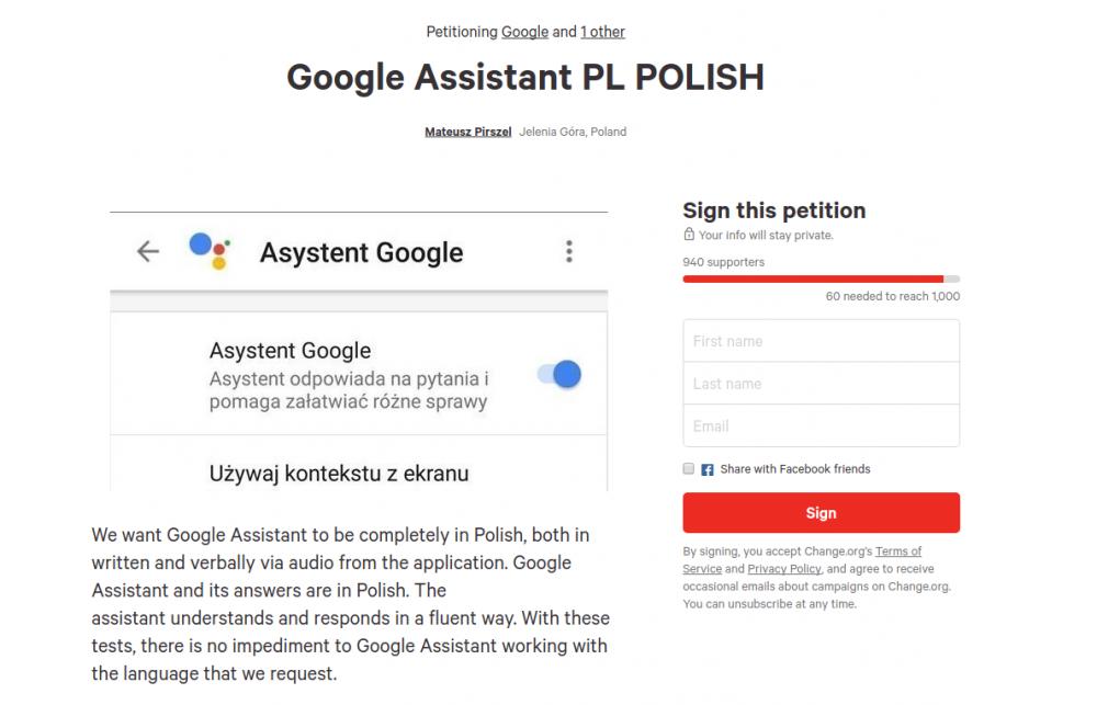google assistant po polsku petycja