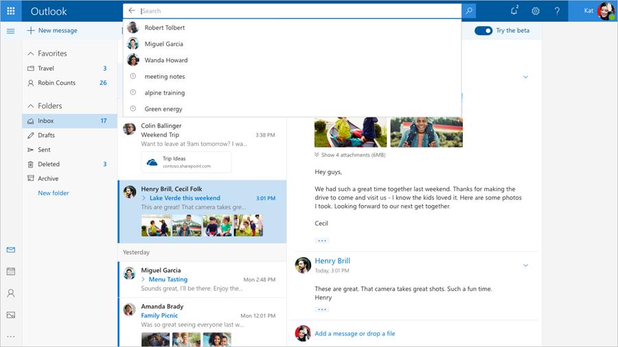 Outlook nowy zmiany beta