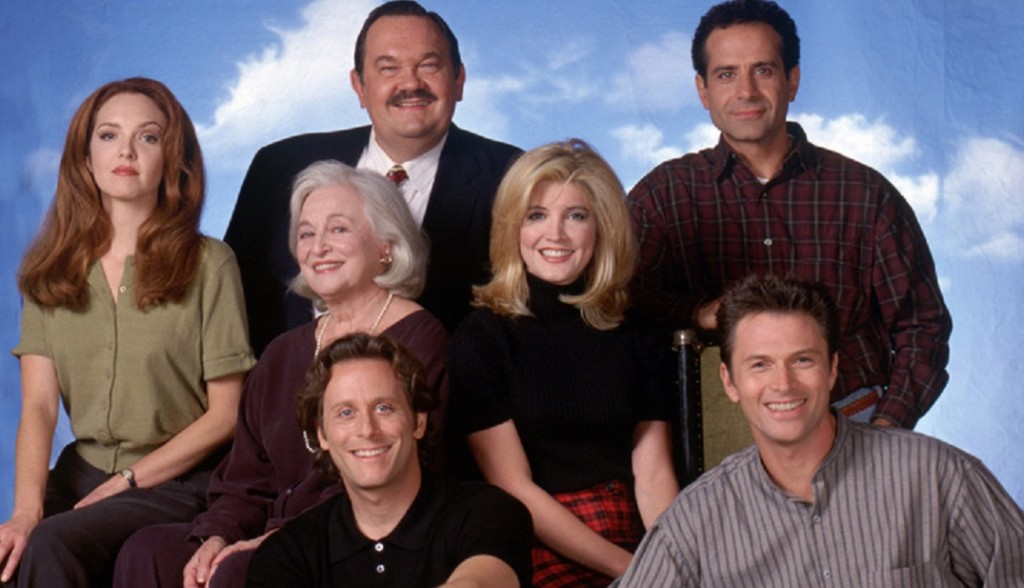 Wings:  Cast Ensemble: David Schramm (standing, back row, from left) and Tony Shalhoub,  Amy Yasbeck, Rebecca Schull and Crystal Bernard (middle row, from left), Steven Weber and Tim Daly (bottom row, from left). NBC Publicist (Burbank) -- Paramount Domestic Television