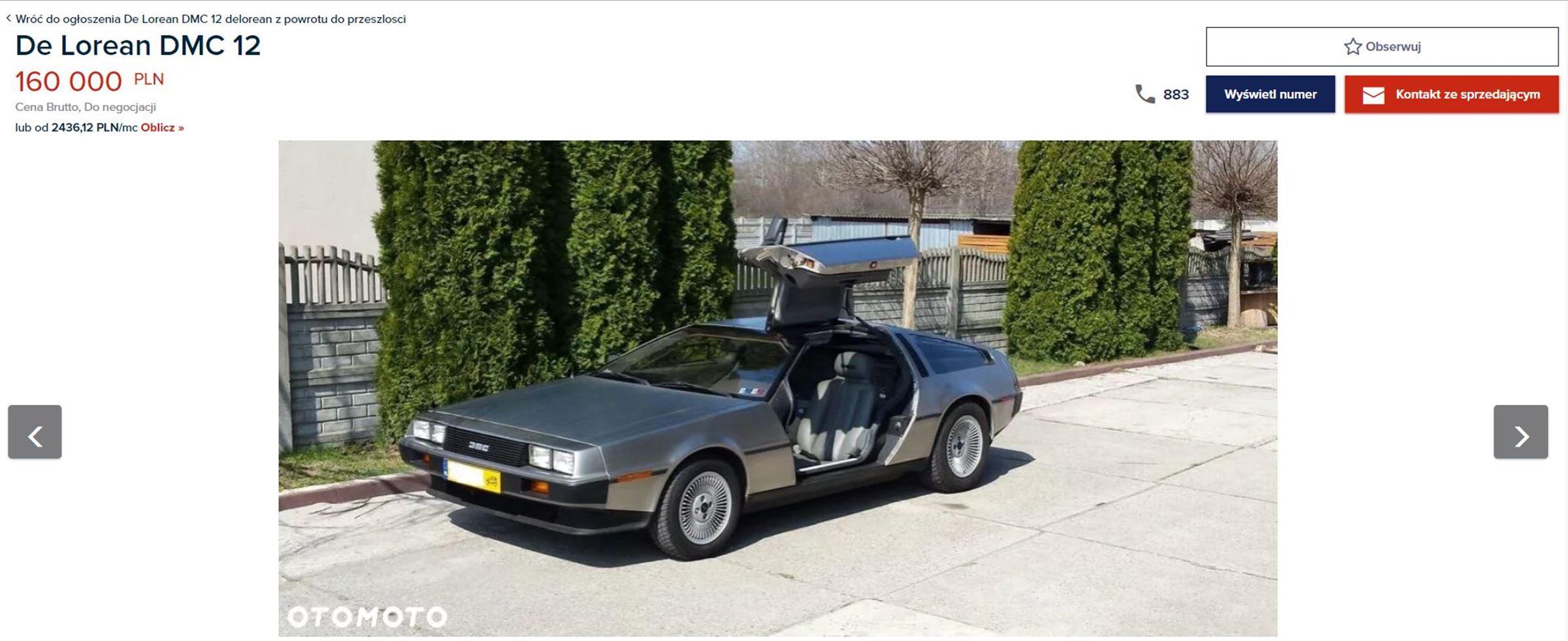 DeLorean na sprzedaż