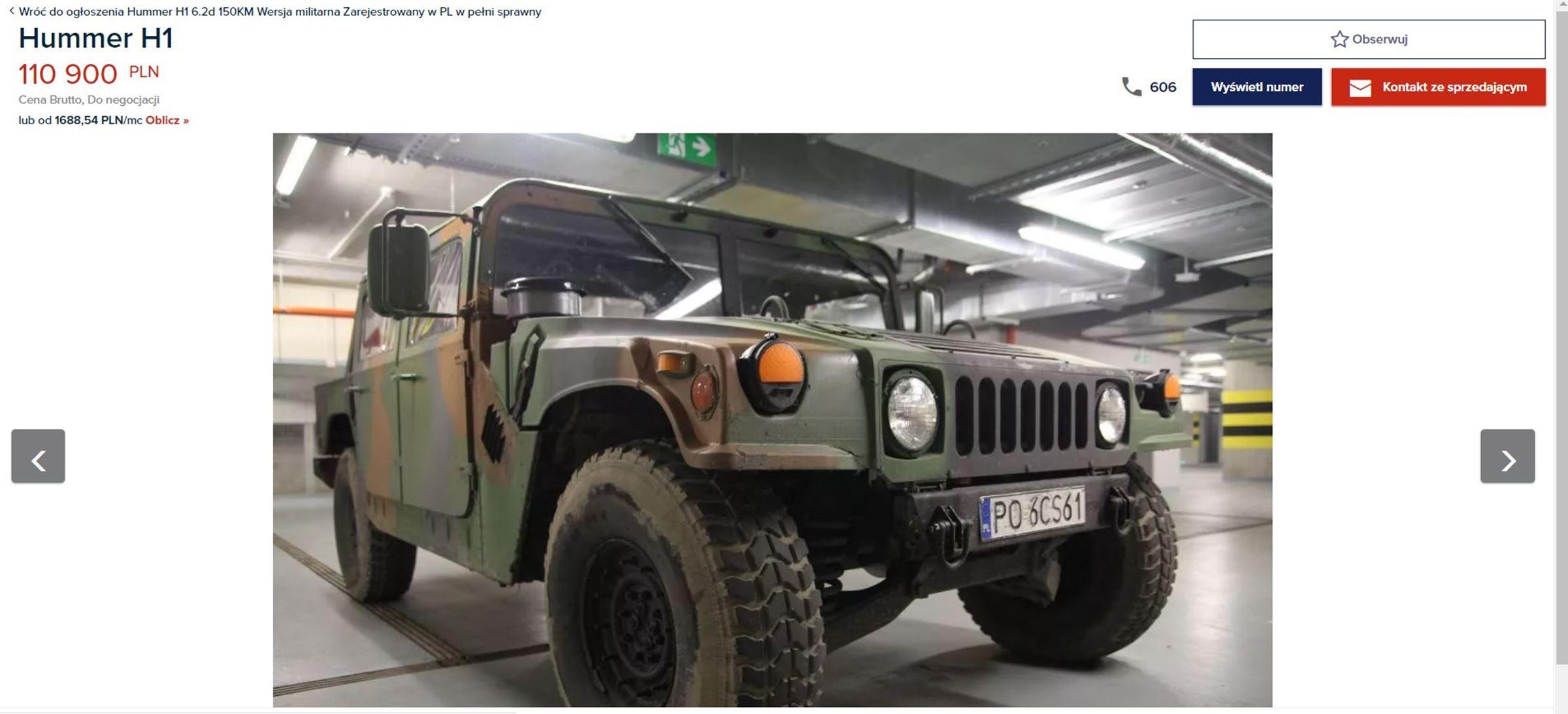 Hummer H1 na sprzedaż