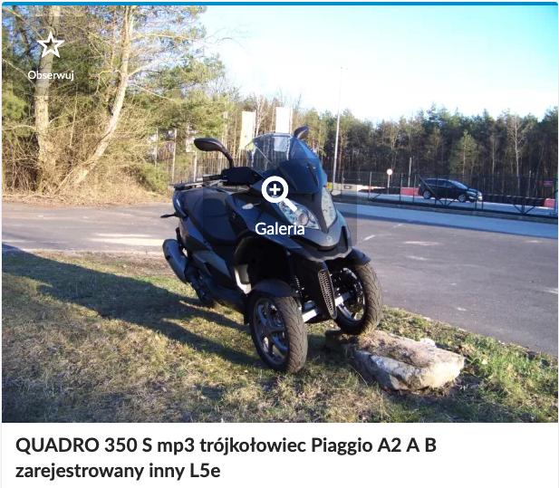 motocykl na kat Quadro 350