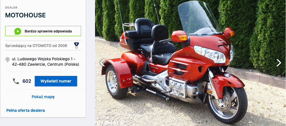 motocykl na kat b Gold Wing