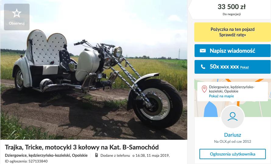 motocykl na kat b trajka