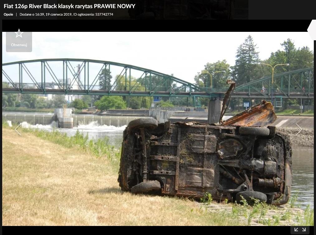 fiat 126p wyciągnięty z rzeki