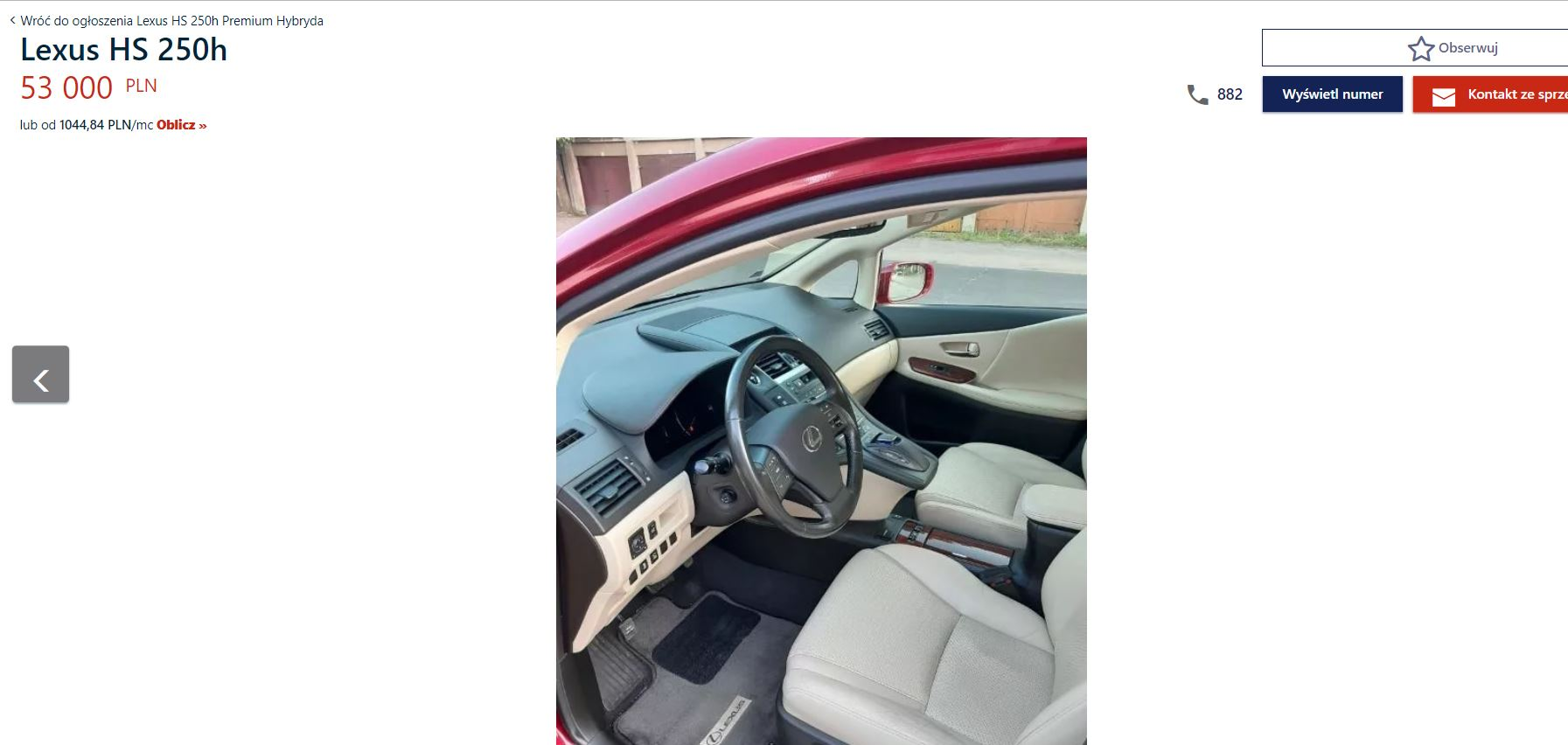 Lexus HS250h na sprzedaż