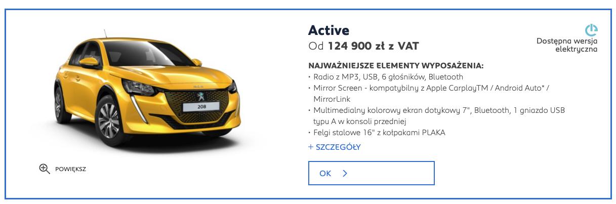 Peugeot e-208 cena
