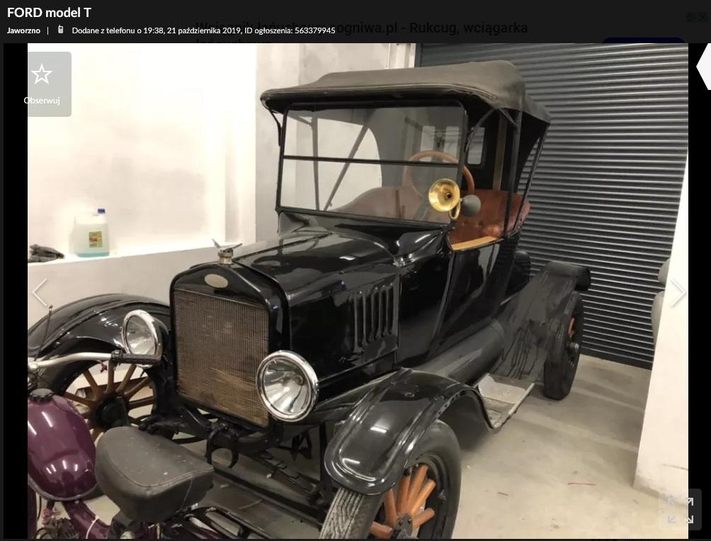 ford model t na sprzedaż