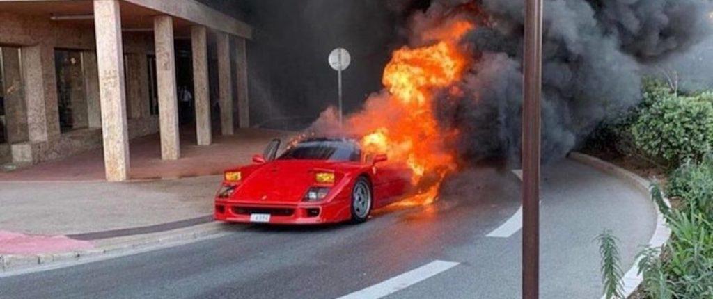ferrari f40 pożar