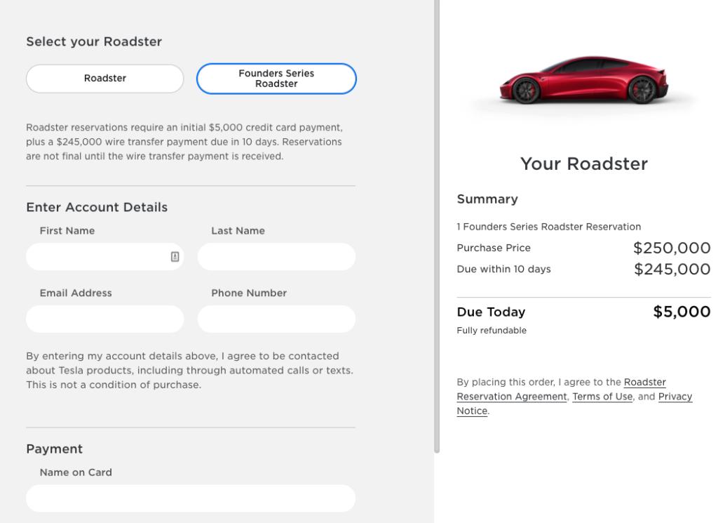 tesla roadster przyspieszenie