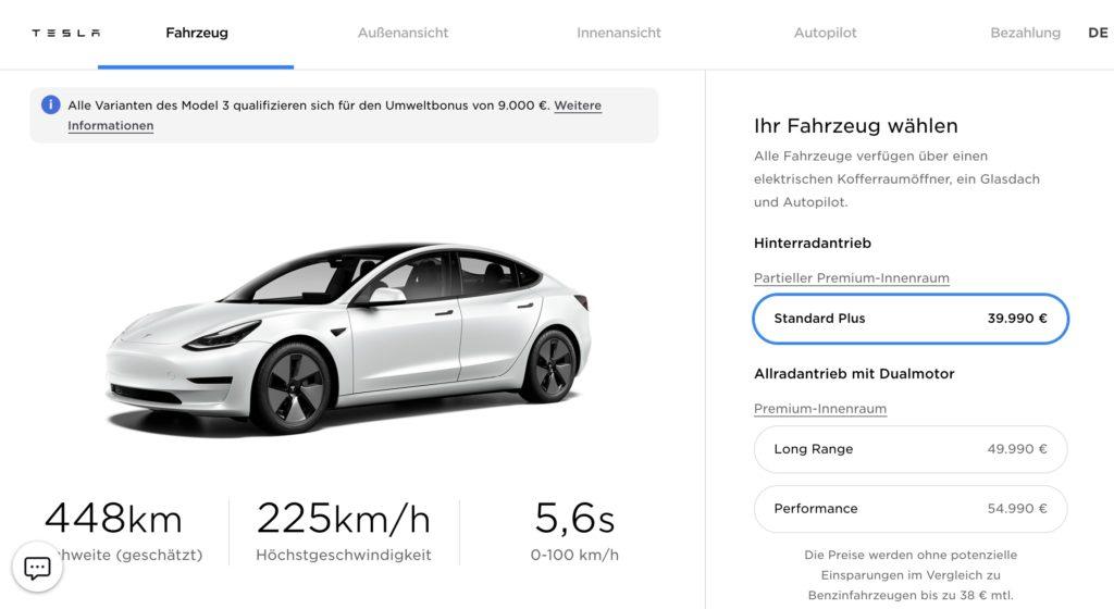 cena tesli model 3 niemcy
