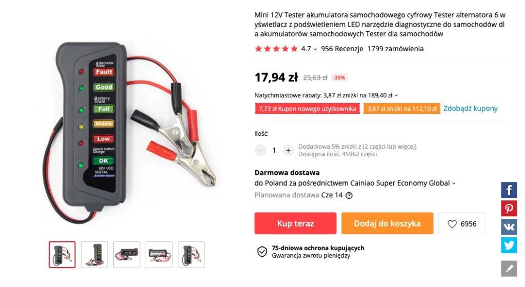 tester aliexpress akumulatory