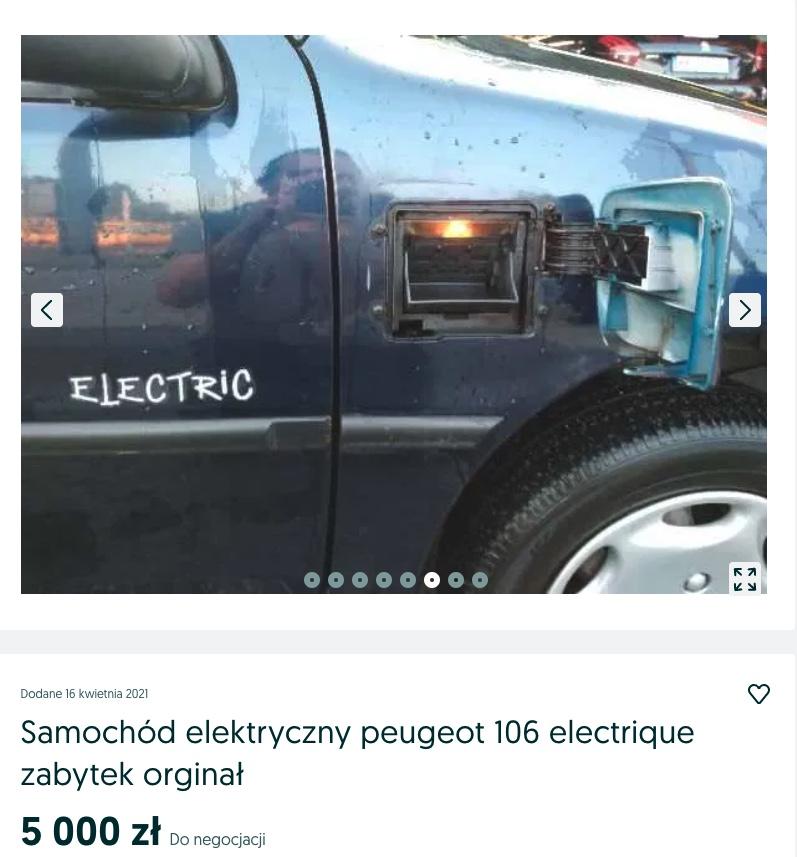 tani elektryczny samochód peugeot 106 electrique