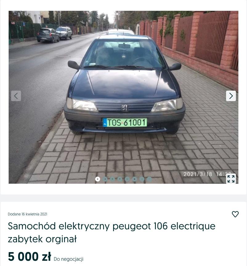 tanie elektryczny samochód peugeot 106 electrique