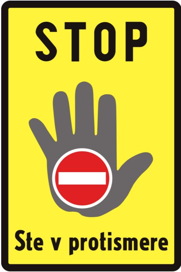 jazda pod prąd na autostradzie znak Słowacja