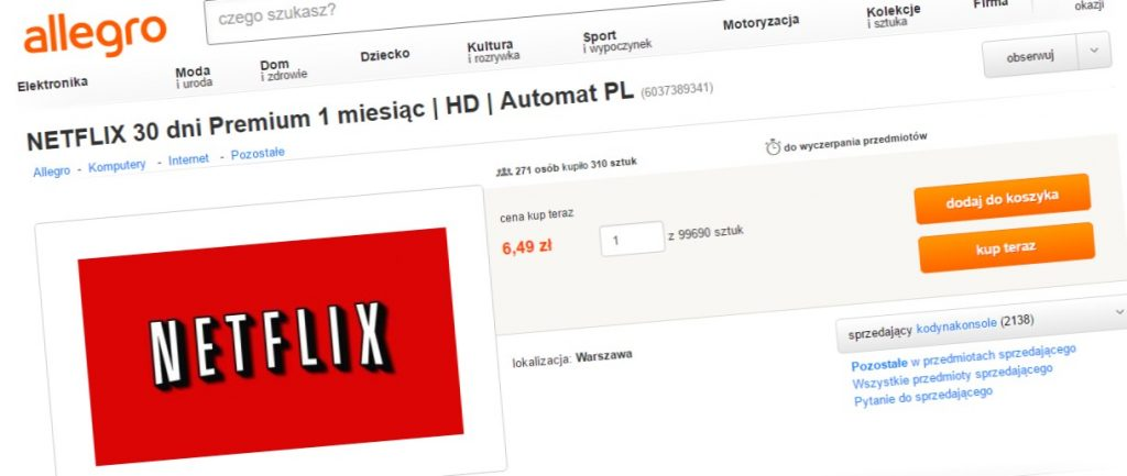 Darmowe Konto Netflix Z Allegro Uwazaj Nie Jest To Legalne