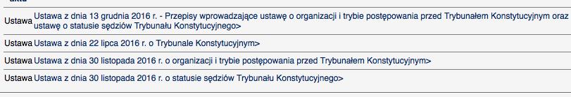 polskie prawo w 2016 - Trybunał Konstytucyjny razy cztery