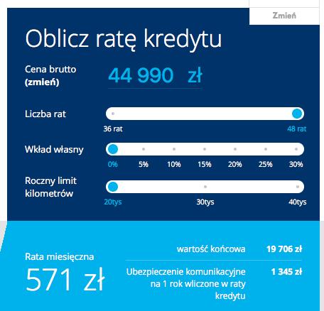 kalkulacja zakupu Volkswagen Polo