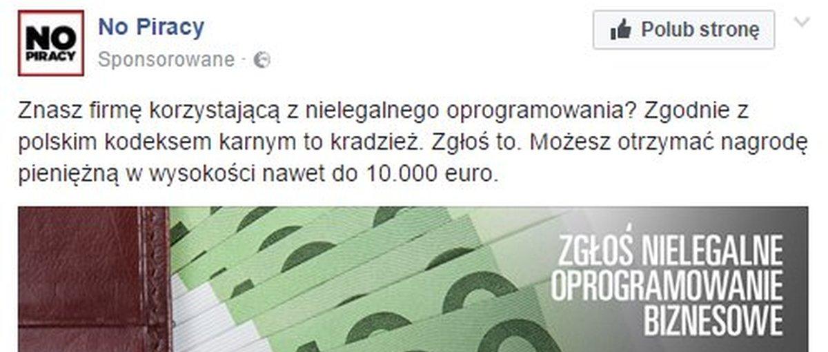 BSA w kraju bez kultury donosu namawia do zgłaszania piracących firm. Daje nawet 10 000 euro nagrody