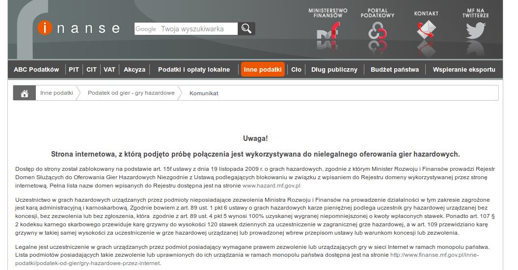 Właśnie w tym momencie nie jesteś w stanie wejść na 482 strony dostępne dotąd w polskim internecie