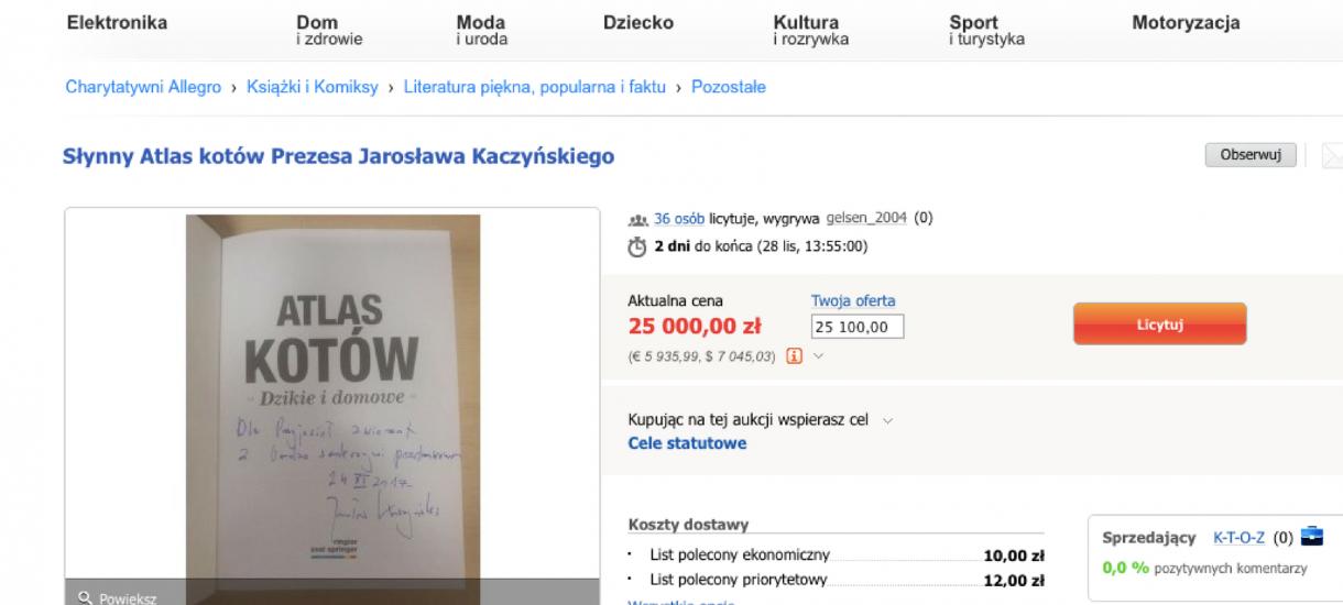 """Kto licytuje """"Atlas kotów"""" Jarosława Kaczyńskiego? Same nowe konta"""