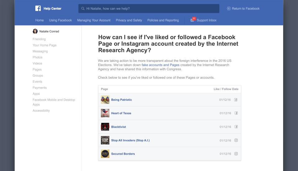 Facebook powie użytkownikom, czy śledzą rosyjskie fanpage w serwisie