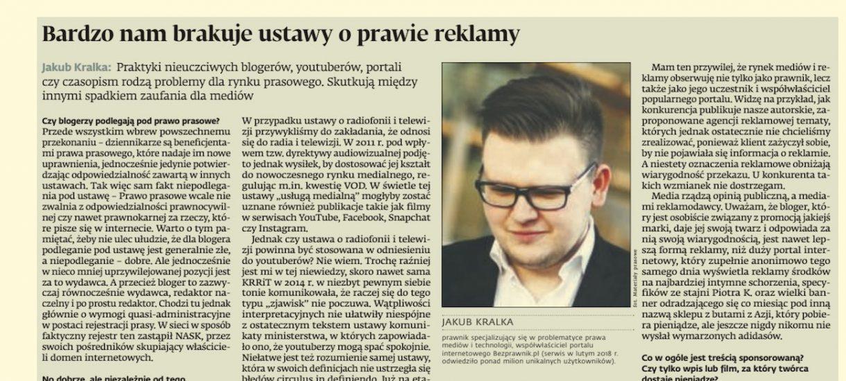 W Dziennik Gazeta Prawna o prawie reklamy, nieuczciwych blogerach i gwiazdach YouTube'a