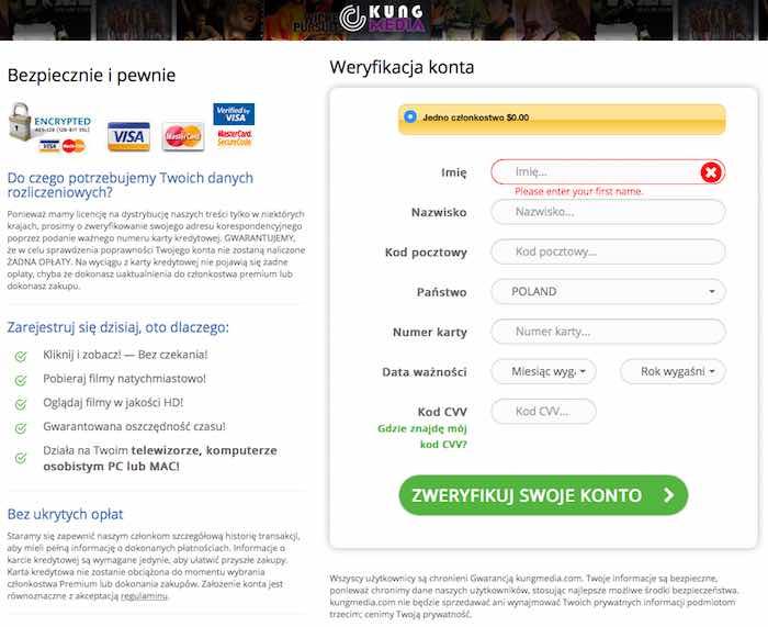 Biedronka i Lidl - oszustwo - ekran płatności