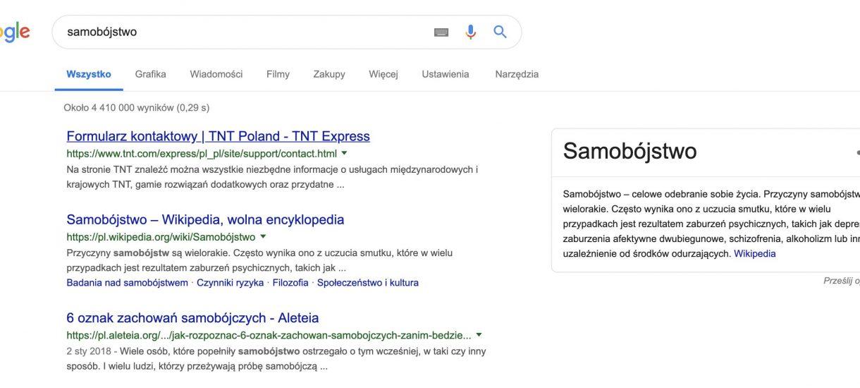 """Co takiego musiało stać się w firmie kurierskiej TNT, że kurier zdominował frazę """"samobójstwo"""" w Google?"""