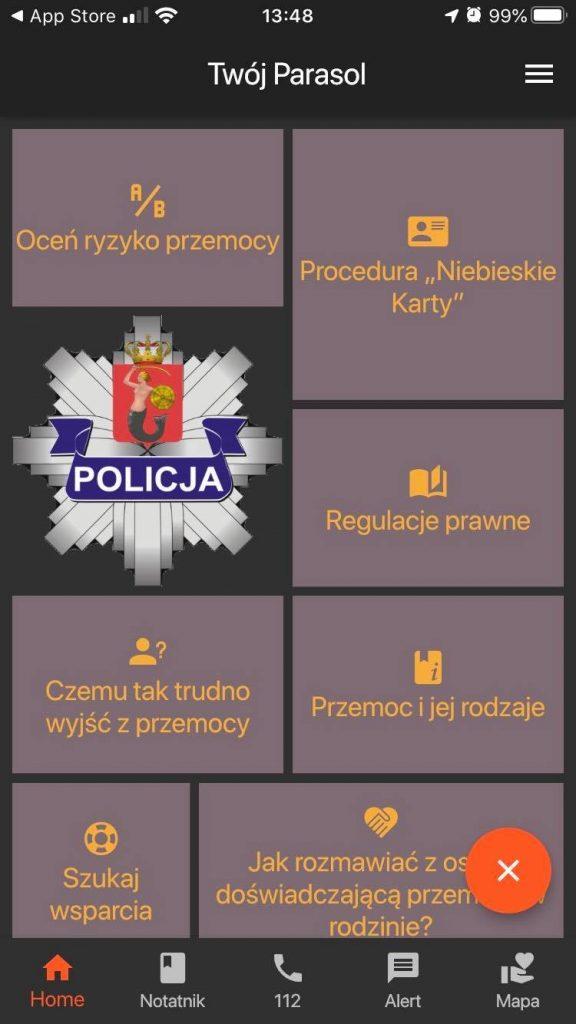 aplikacja dla ofiar przemocy w rodzinie screen
