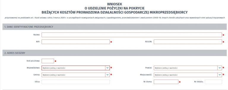 wniosek o pożyczkę dla mikroprzedsiębiorców