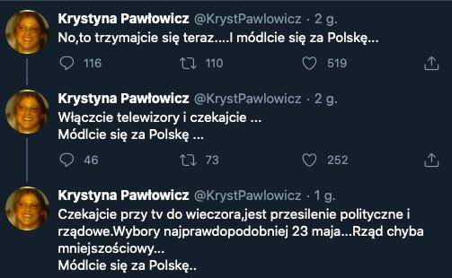 wybory prezydenckie 2020 tweet krystyny pawłowicz