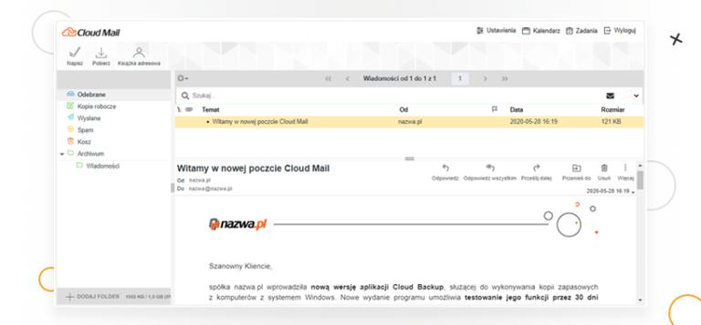 cloud mail od nazwa pl zrzut ekranu