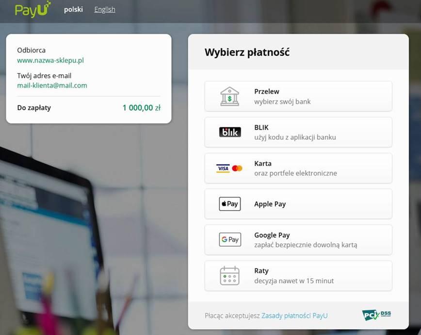 Przykład prezentowania metod płatności przez PayU.