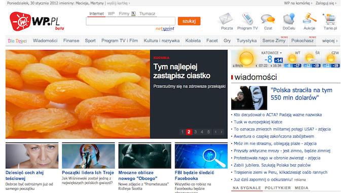 WirtualnaPolska ma nową stronę główną i widać, że polskim portalom wciąż wiele brakuje do światowych liderów
