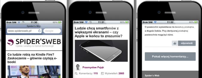 Nowa piękna wersja mobilna Spider's Web już działa!