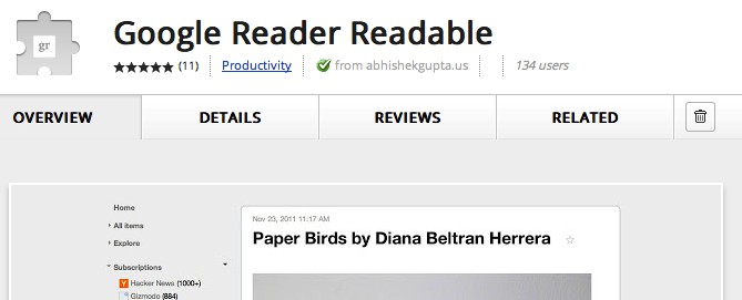 W końcu genialne rozszerzenie dla webowego Google Readera!