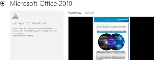Office 2010 uwidocznił ułomność Windows Store