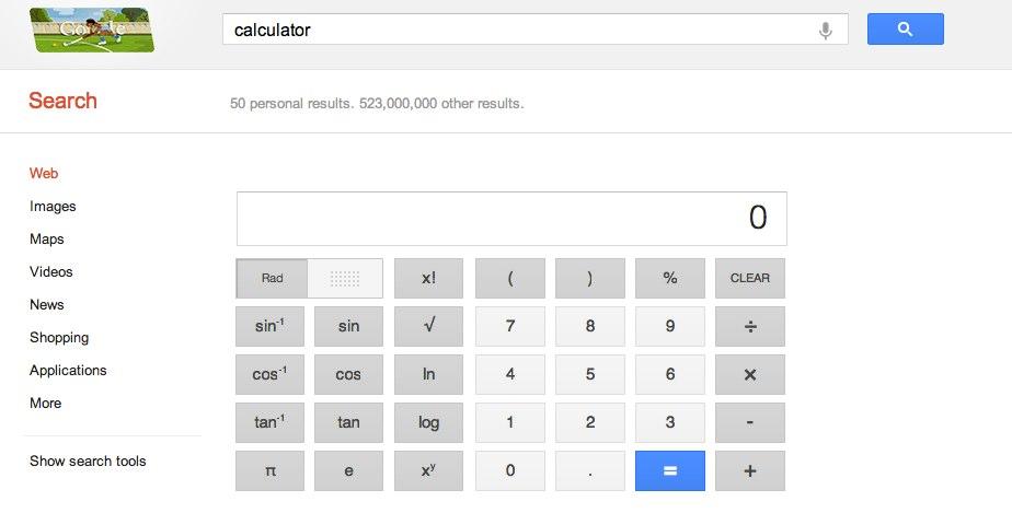 Zacznij pisać słowo kalkulator w wyszukiwarce Google