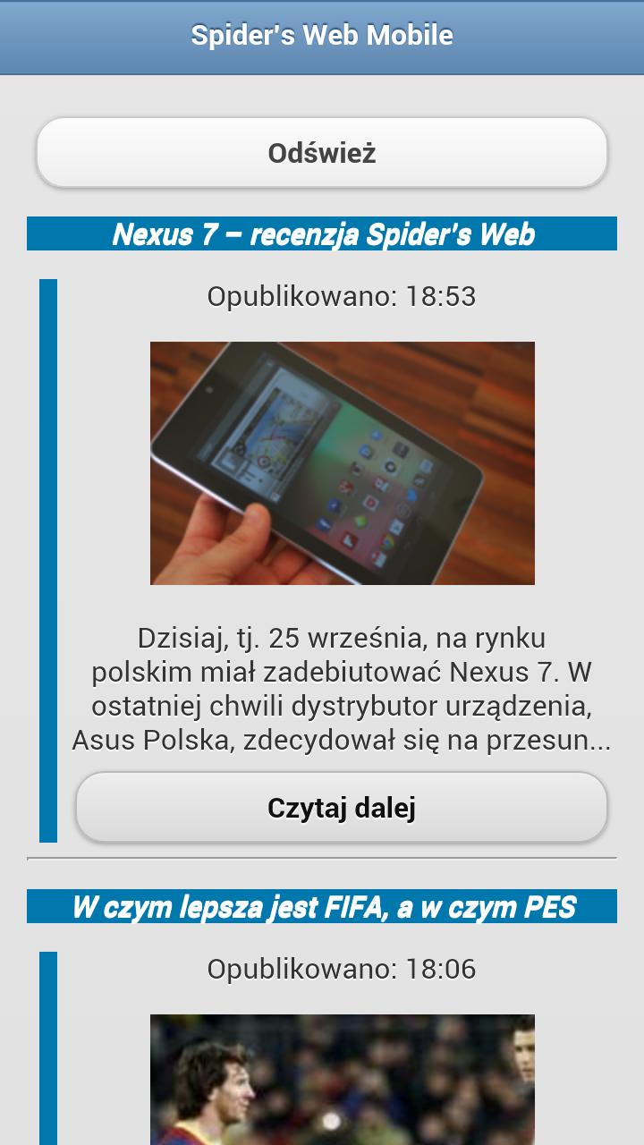 Android nie gęsi czyli coś o innej wersji mobilnej aplikacji Spider's Web
