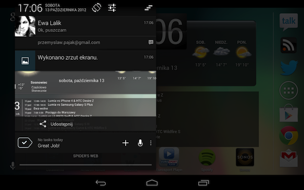 Android 4.1.2, Nexus 7, powiadomienia
