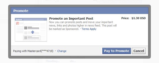 Możemy już płacić Facebookowi za wyświetlanie postów naszym własnym znajomym