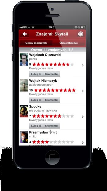 Filmweb iPhone oceny znajomych